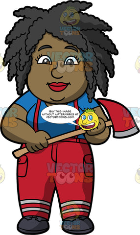 Lisa Dressed Up As A Fire Fighter. A black woman wearing red fire fighter pants, red suspenders, a blue shirt, and black shoes, standing and holding a fire axe in her hand