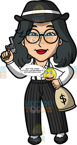 Lynn Dressed As A 1920s Gangster. An Asian woman wearing black pin striped pants, black shoes, a white shirt, black suspenders, a black gangster hat, and round eyeglasses, standing and holding a gun in one hand, and a bag of money in the other