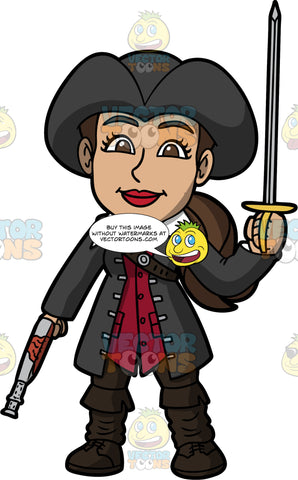 Isabella Dressed As A Pirate. A Hispanic woman wearing black boots over black pants, a red vest underneath a long black coat, and a black pirate hat, standing with a gun in one hand and a sword in the other