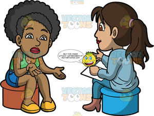Jackie Talking To A Counselor. A black woman wearing blue shorts, a green tank top, and yellow shoes sitting on a stool talking to a female therapist wearing blue pants, a light blue sweater and brown boots