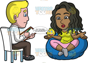 Maggy Speaking To A Pshychiatrist. A black woman wearing pink pants and lime green shirt, sitting on a bean bag chair talking to a male psychiatrist wearing brown pants, a white shirt, and gray shoes