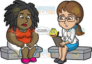 Lisa Talking To A Therapist. A black woman wearing a white skirt, a red shirt, and pink shoes, sitting down and talking to a female therapist wearing a blue skirt, a white shirt, gray shoes, and eyeglasses