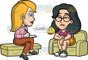 Lynn Talking To A Psychologist. An Asian woman wearing orange shorts, a purple shirt, green shoes, and eyeglasses, sitting on a couch talking with a female psychologist wearing brown pants, a pink blouse, and gray shoes