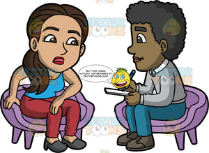 Isabella Talking With A Therapist. A Hispanic woman wearing burgundy pants, a blue tank top, and gray shoes, sitting in a chair talking to a male therapist wearing blue pants, a gray sweater and brown shoes
