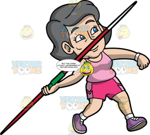 Mary Getting Ready To Throw A Javelin. An older woman wearing pink shorts, a light pink tank top, and purple running shoes, holding onto a javelin in one hand and preparing to throw it