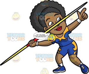 Jackie Getting Ready To Throw A Javelin. A black woman wearing blue with yellow shorts, a blue and yellow shirt, and blue running shoes, points and holds onto a javelin and gets ready to release it