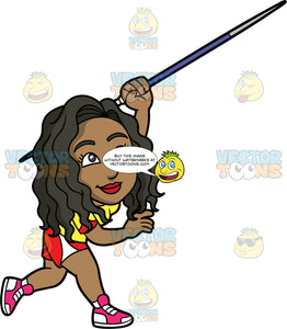 Maggy Throwing A Javelin. A black woman wearing red and white shorts, a red and yellow shirt, and red and white shoes, throwing a spear during a javelin competition
