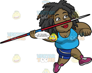 Lisa Preparing To Throw A Javelin. A black woman wearing dark blue shorts, a sky blue shirt, and purple running shoes, holding onto a javelin and running and she gets ready to throw it