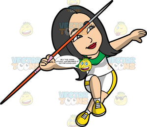 Connie About To Throw A Javelin. An Asian woman wearing white shorts with yellow stripes down the sides, a white with green shirt, and yellow running shoes, running and holding onto a javelin as prepares to throw it