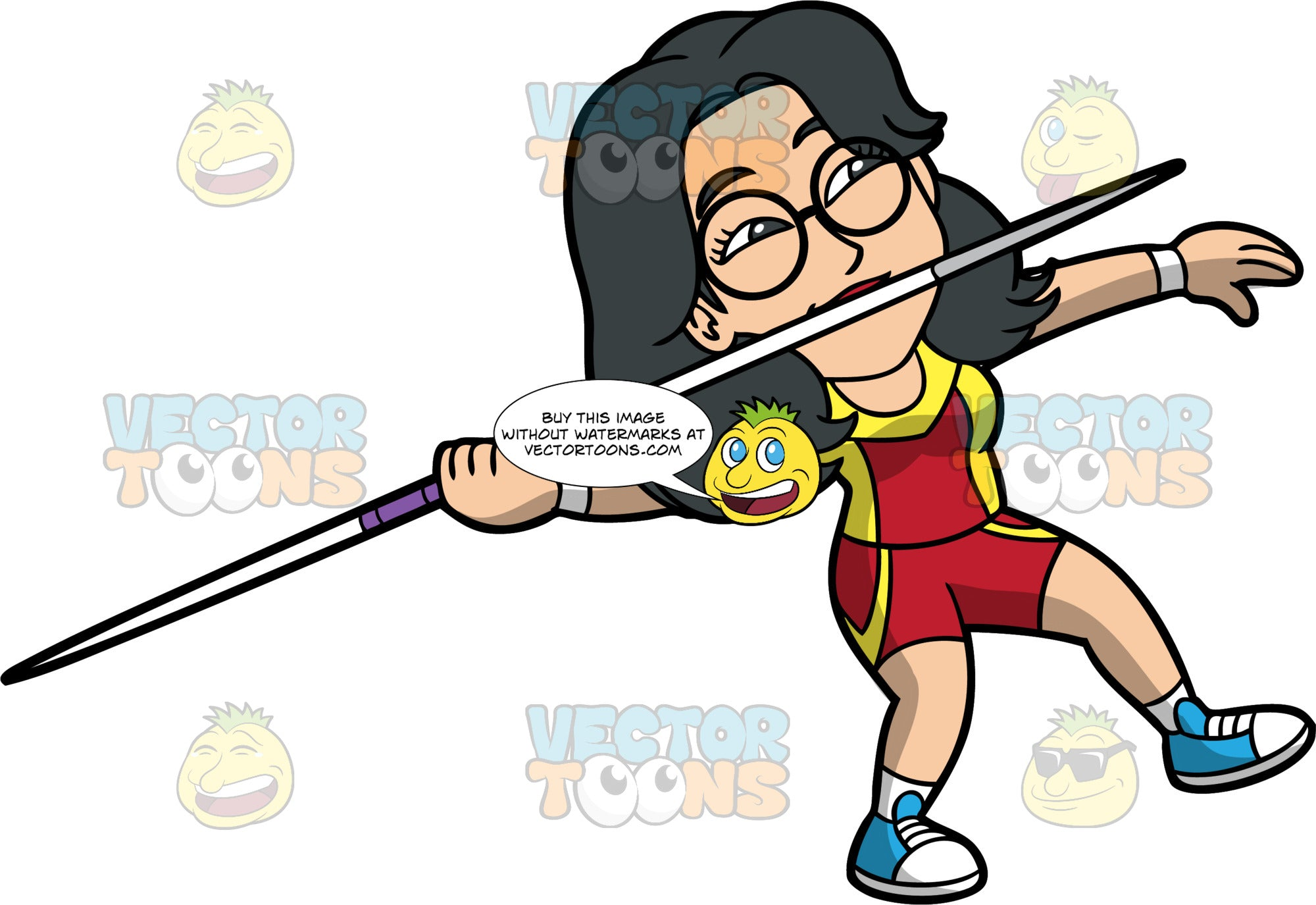 Lynn Preparing To Throw A Javelin. An Asian woman wearing red with yellow shorts, a red with yellow shirt, blue running shoes, and round eyeglasses holding a javelin and getting ready to throw it