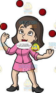 A Woman Juggling Red Balls. A woman with brown hair and eyes, wearing a pink skirt, a pink blazer, and black high heels, confidently juggles four red balls