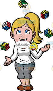 A Happy Woman Juggling Rubiks Cubes. A woman with dirty blonde hair tied up in a ponytail, wearing gray capri pants, a long sleeved white shirt, and brown shoes, smiles as she juggles five rubik's cubes