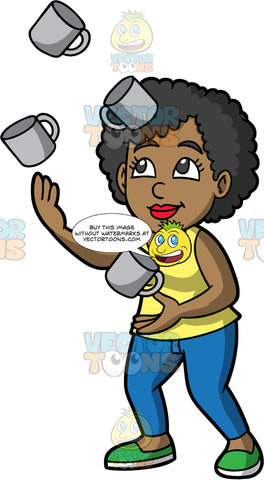 A Black Woman Juggling Coffee Mugs. A black woman wearing blue pants, a yellow tank top, and green shoes, juggles four gray coffee mugs with ease