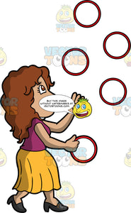 A Woman Juggling Rings. A woman with brown hair and eyes, wearing a long yellow skirt, a purple shirt, and black high heels, concentrating as she juggles five red rings