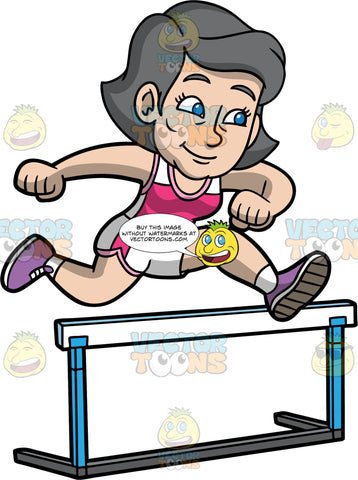 Mary Competing In A Hurdle Jumping Contest. A mature woman wearing white with pink running shorts, a pink with white tank top, and purple running shoes, jumps over a hurdle in a race