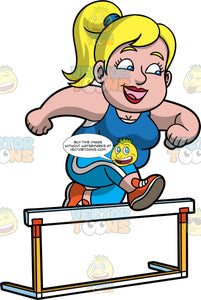 Pat Hurdle Jumping. A chubby blonde woman wearing light blue pants, a blue tank top, and orange running shoes, smiles as she jumps over a hurdle
