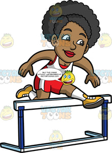 Jackie Hurdle Jumping. A black woman wearing red with white shorts, a red and white tank top, and yellow running shoes, concentrates as she leaps over a hurdle