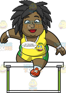 Lisa Jumping Over A Hurdle. A chubby black woman wearing yellow with green shorts, a yellow with green tank top, and red running shoes, jumping over a hurdle during a race