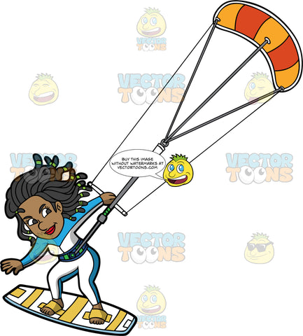 A Woman Hangs On As She Is Pulled Across The Water On Her Kiteboard. A black woman with dreadlocks, wearing a white and blue wet suit, hangs onto a bar attached to an orange and yellow power kite as she is propelled along the water on her white and yellow kiteboard