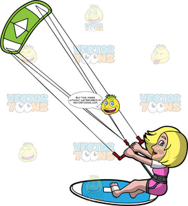 A Pretty Woman Having Fun On Her Kiteboard. A blonde woman in a pink and white wet suit, hangs onto a red bar attached to a green and white power kite as she skids across the water on her blue kiteboard