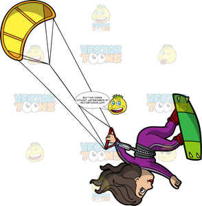 A Woman Doing A Flip On Her Kiteboard. A woman on a green kiteboard, wearing a purple wet suit holds on tight to a yellow power kite as she does a flip in the air