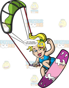 A Blonde Woman Having Fun Kiteboarding. A woman with her blonde hair in a ponytail, wearing a blue wet suit, hangs onto a bar attached to a green and white power kite, as her purple board lifts off the water