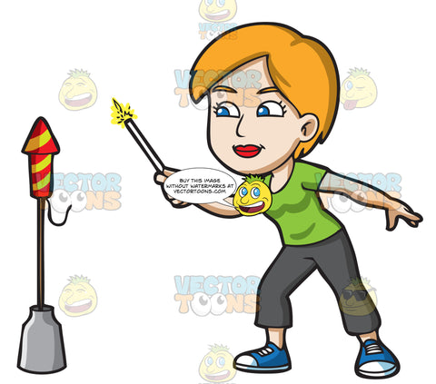 A Woman Carefully Lighting A Firecracker