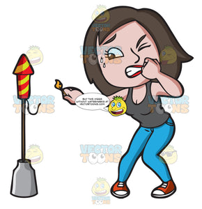 A Very Scared Woman Trying To Light A Firecracker
