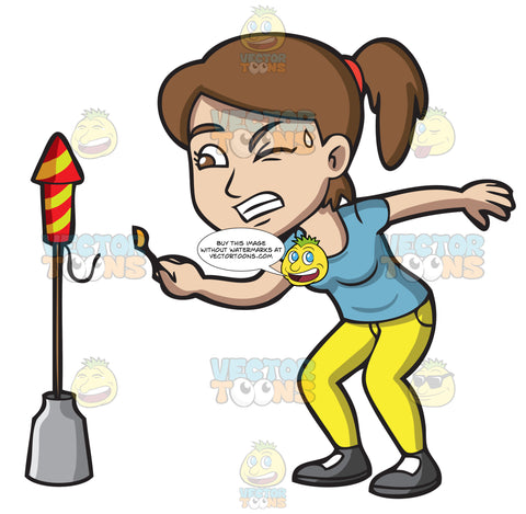 A Horrified Girl Attempting To Light A Firecracker