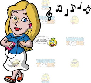 Stacey Listening To Music On Her Headphones. A woman wearing a white skirt, a blue shirt, and orange shoes, walking and listening to music on the headphones connected to her cell phone