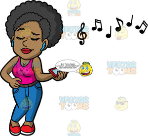 Jackie Listening To Music On Her Blue Tooth Headphones. A black woman wearing blue jeans, a pink tank top, and red shoes, closes her eyes while listening to music on blue ear buds
