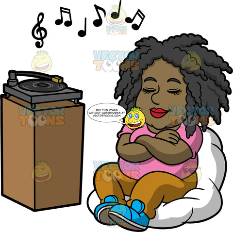 Lisa Relaxing And Listening To Music. A black woman wearing brown pants, a pink shirt, and blue shoes, sitting in a white bean bag chair, closing her eyes and listening to music playing on a record player