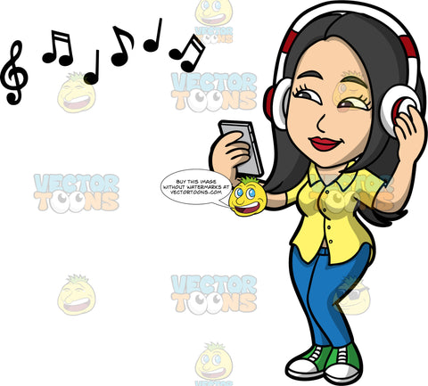 Connie Using Blue Tooth Headphones To Listen To Music . An Asian woman wearing blue jeans, a yellow shirt, and green sneakers, holding a cell phone in her hand while listening to music on her headphones