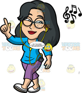 Lynn Listening To Music While Walking. An Asian woman wearing purple pants, a long sleeve blue shirt, white shoes, and eyeglasses, walking and listening to music on headphones connected to a cell phone in her pocket