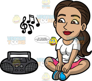 Isabella Listening To Music On The Radio. A Hispanic woman wearing pink short, a white shirt, and blue shoes, sitting on the floor listening to music playing on the radio