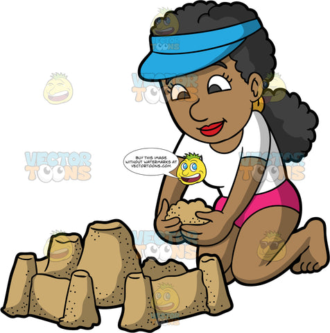 A Black Woman Building A Sandcastle. A pretty black woman wearing pink bathing suit bottoms, a white t-shirt, and a blue visor, kneels on the ground and adds some sand to the castle she is building