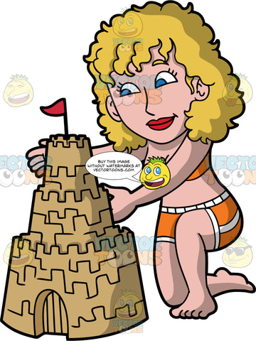 A Woman Patting Down The Sandcastle She Built. A woman with blonde hair and eyes, wearing an orange two piece bathing suit, kneels down and pats the sides of the sandcastle she just finished constructing
