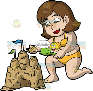A Woman Putting The Finishing Touches On Her Sandcastle. A chubby woman with brown hair and eyes, wearing a yellow bikini, kneels down and adds some sand to the top of a sand structure in the shape of a castle with flags on top