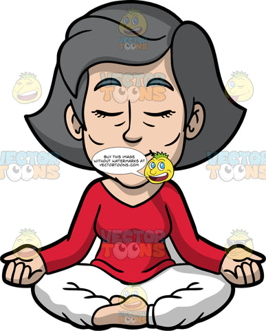 Mary Taking Some Time To Meditate. A mature woman with gray hair, wearing white pants, and a red long sleeve shirt, sitting on the floor with her legs crossed, eyes closed, and the backs of her hands resting on her knees