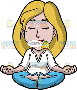 Stacey Sitting in Lotus Pose Meditating. A woman with dirty blonde hair, wearing blue pants, and a white shirt, sitting in lotus pose, with her eyes closed and the backs of her hands resting on her knees