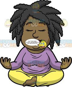 Lisa Sitting Down And Meditating. A black woman wearing yellow pants, and a lavender shirt, sitting on the floor with her legs crossed, her eyes closed and the back of her hands resting on her knees