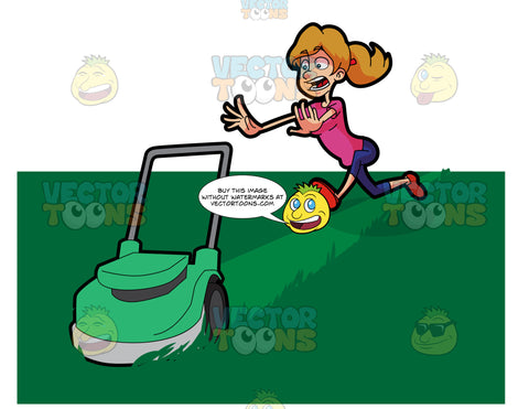 A Terrified Woman Running After A Lawn Mower