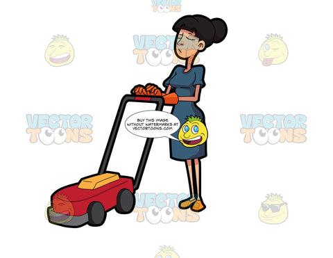 A Helper Pushing A Lawn Mower