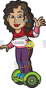 A Friendly Woman Riding A Hoverboard. A woman with dark brown curly hair, wearing a striped red, white and pink sweatshirt, purple pants with yellow side stripe, blue shoes, smiles while waving as she rides a green hoverboard with black and green wheels