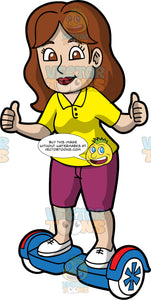 A Woman Enjoying Her Time While Riding A Hoverboard. A woman with brown hair, wearing a yellow polo shirt, purple shorts, white shoes, smiles while lifting a thumbs up as she rides a blue with red hoverboard that has white and blue wheels