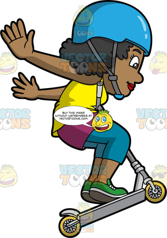 An Excited Black Woman Doing A No Handed Trick On A Scooter. A black woman with curly hair, wearing a blue helmet with gray chin strap, yellow sleeveless shirt over a violet inner shirt, cropped teal pants, green shoes, smiles while jumping with her gray scooter with yellow wheels