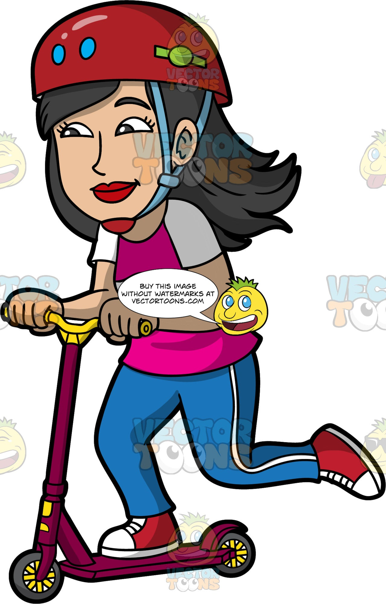 A Happy Woman Riding A Scooter. A woman with black hair, wearing a red helmet with blue and green accent, blue with red chin strap, pink with white shirt, blue pants with white side stripe, red with white sneakers, smiles while riding a violet with yellow scooter with gray wheels