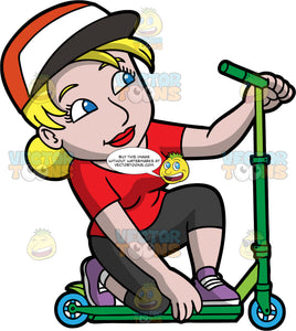 A Woman Kneels While Riding A Scooter. A woman with blonde hair tied in a bun, wearing an orange with white and black cap, red shirt, black leggings, purple with white sneakers, smiles while kneeling on her green scooter with blue wheels