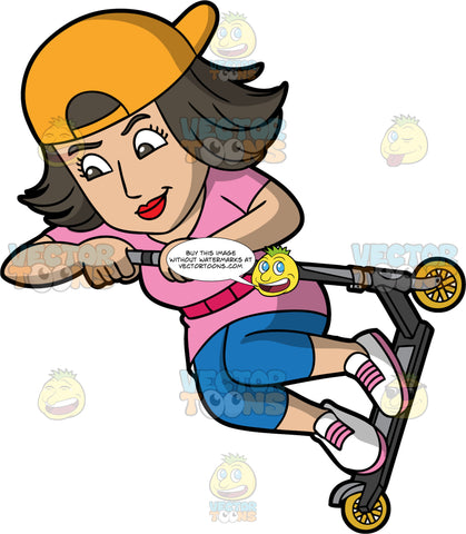 A Woman Does An Aerial Trick While Riding A Scooter. A woman with dark brown hair, wearing a pink shirt, reversed yellow orange cap, red belt, blue cropped pants, white with pink shoes, smiles while jumping and lifting her black and gray scooter with yellow wheels to do an exhibition