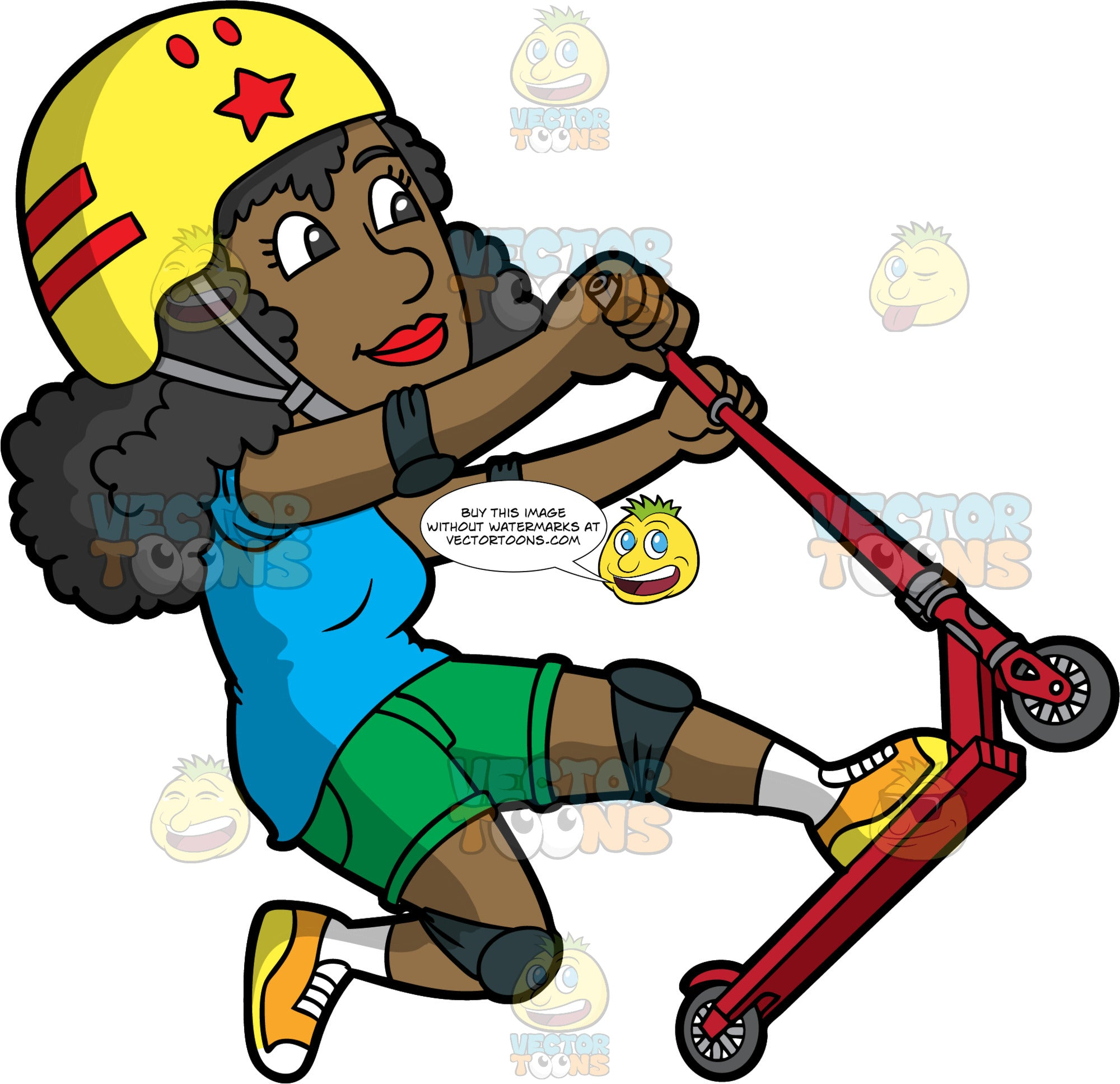 A Black Woman Riding Doing Tricks On A Scooter. A black woman with curly hair, wearing a yellow helmet with red accent, gray chin strap, blue shirt, green shorts, dark grayish blue knee pads, white socks, yellow with orange and white sneakers, smiles while pulling up her red and gray scooter with wheels as she is riding it